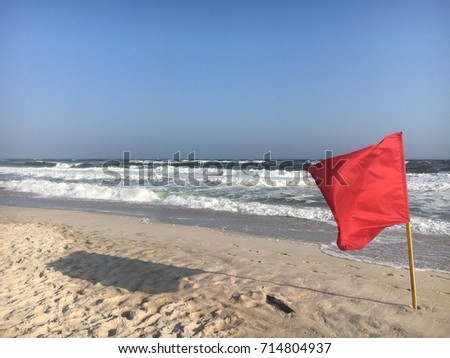 Red Flag On The Beach At Robert Moses State Park Fire Island NY
