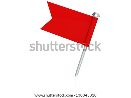 Red flag pin - stock photo