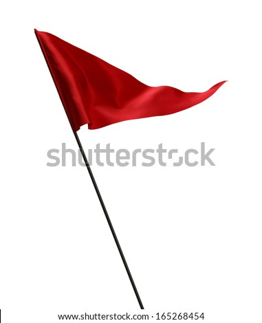 Red Flag Waving in the Wind on Pole Isolated on White Background. - stock photo