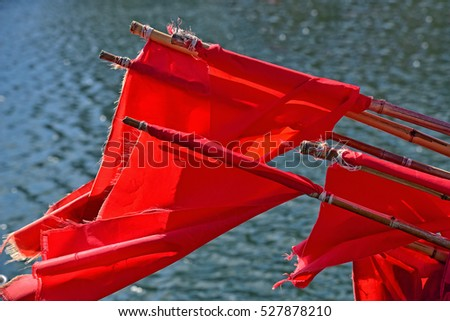Red flags on fishing boat