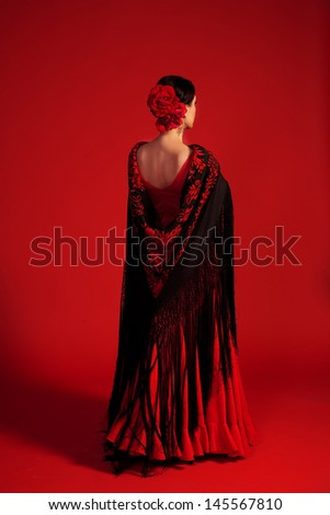 Red flamenco studio shot - stock photo