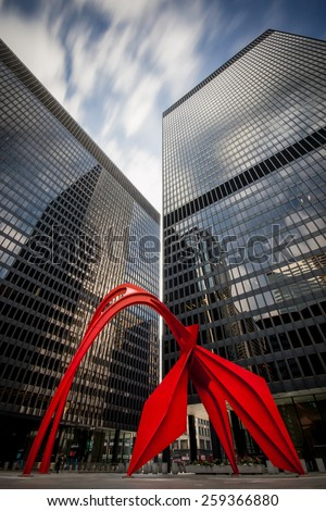 Red Flamingo Sculpture in Chicago - stock photo