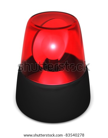 Red flashing emergency light isolated on a white background