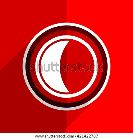 red flat design moon web modern icon
