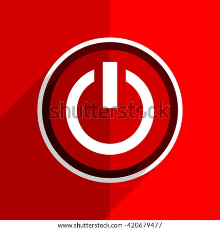 red flat design power web modern icon