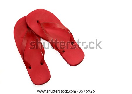 Red Flip Flops Isolated on White - stock photo