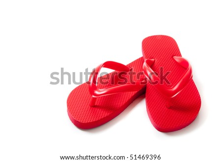 REd flip-flops on a white background - stock photo