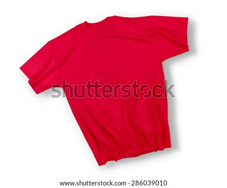Red floating shirt isolated on white  - stock photo