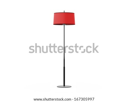 Red floor lamp, isolated on white background.