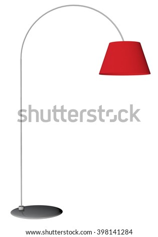 Red floor lamp isolated on white background. 3D rendering