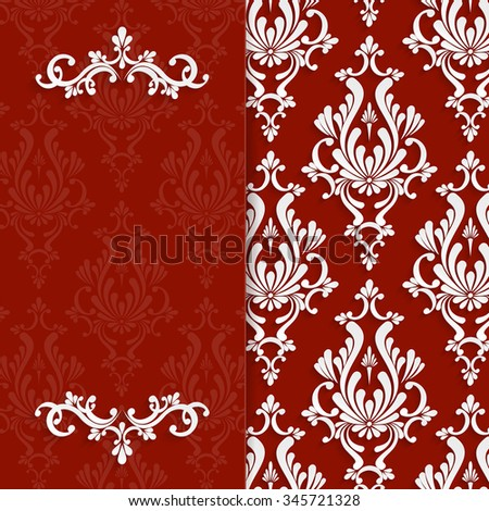Red Floral 3d Christmas and Invitation Background Template - stock photo