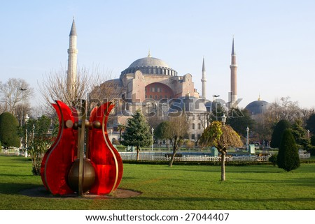 Red flower and mosque Aya Sophya in Istanbul - stock photo