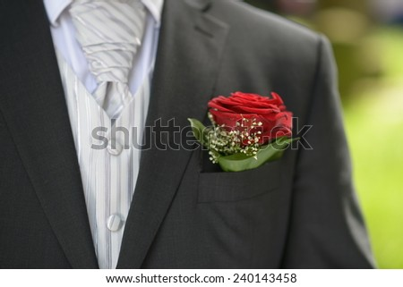 Red flower in the pocket of the bridegroom's wedding suit