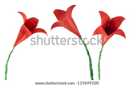 Red Flower origami white isolated. Paper made flowers. - stock photo
