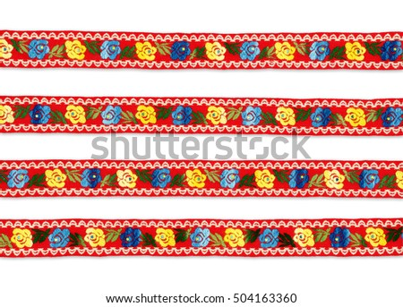 Red flower ribbon with clipping path