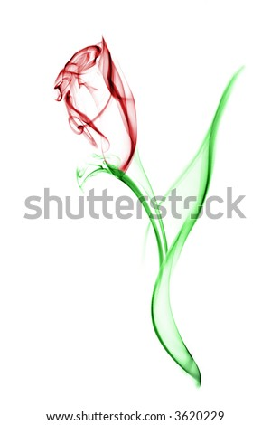 Red flower with green leaves. Image is a careful combination of three separate photographs of smoke. Isolated on a white background.