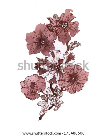 Red flowers. illustrations - stock photo