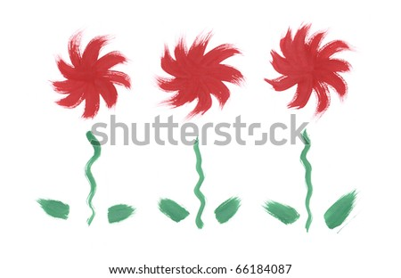 Red flowers set. Hand drawn brush paint isolated on white background