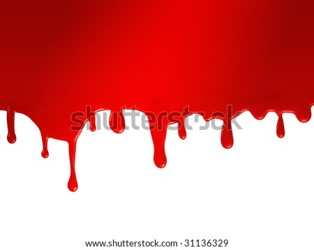 Red flowing paint - stock photo