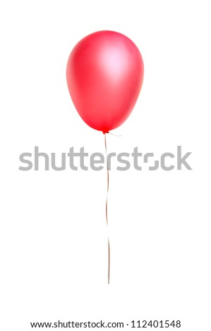 Red flying balloon isolated on white background - stock photo
