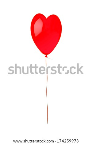 Red flying balloon looking like heart symbol isolated on white background