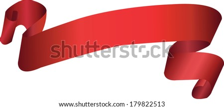 Red flying scroll ribbon isolated on white