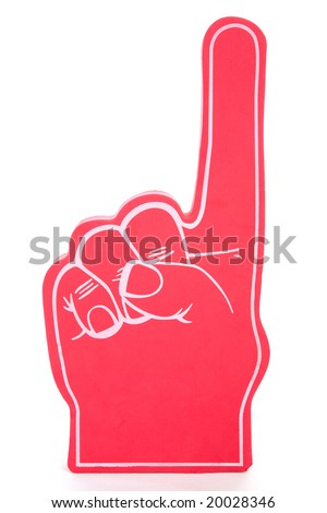 Red foam hand showing the number one, used for sports events.  Isolated on white.  (foam texture may appear similar to noise) - stock photo