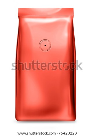 red foil bag with valve - stock photo