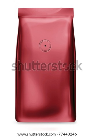red foil package bag with valve isolated on white background - stock photo