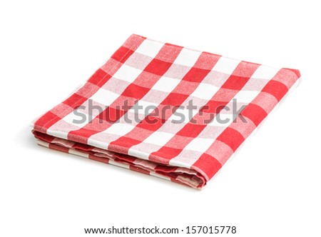 red folded tablecloth isolated - stock photo
