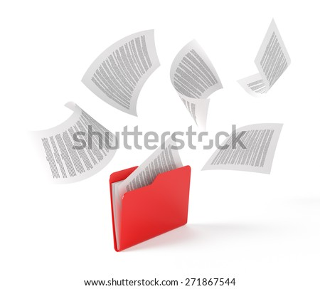 Red folder with a documents isolated on white. - stock photo