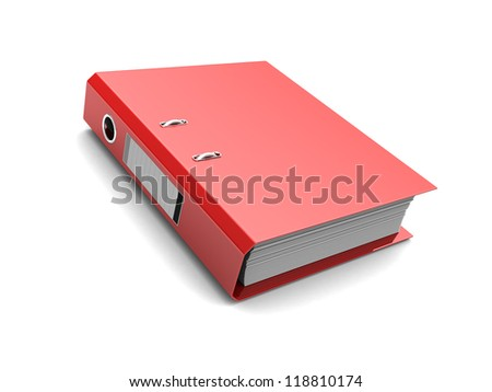 Red folder with documents inside isolated on white background - stock photo