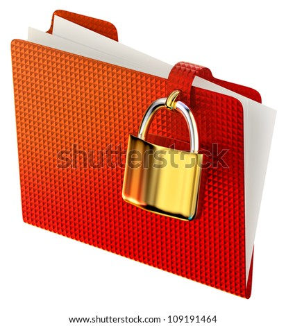 red folder with golden hinged lock stores confidential information - stock photo