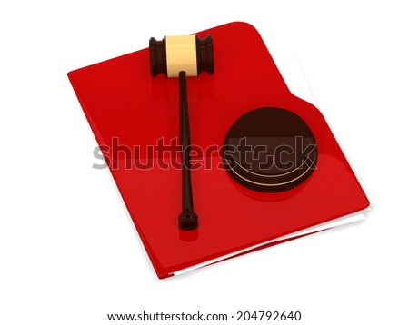 Red folder with judge gavel - isolated on white background - 3d rendering - stock photo