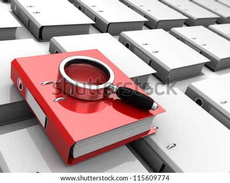 Red folder with magnifier placed above grey files - stock photo