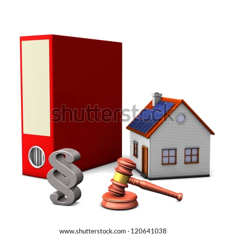 Red folder with smal house, hammer and paragraph on the white background. - stock photo