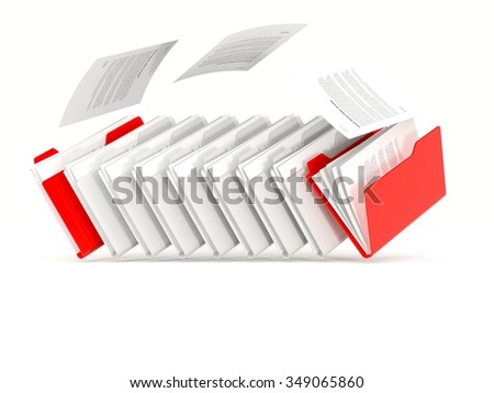 Red folders in a row isolated on white - stock photo