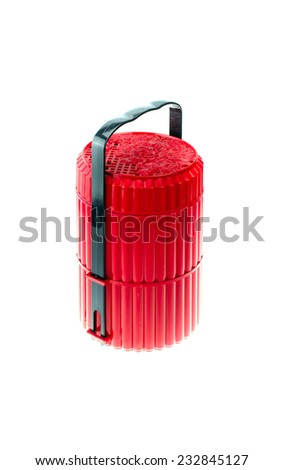 Red food carrier in Chinese style on white background