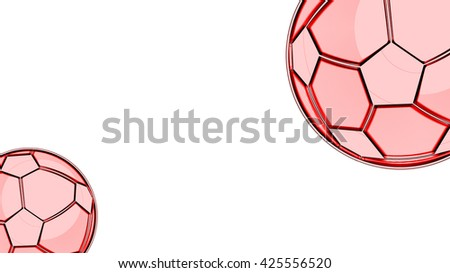 Red Football Background, Soccer Ball - stock photo