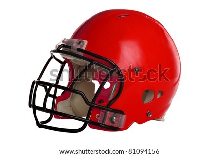 Red football helmet isolated over white background - With Clipping Path - stock photo