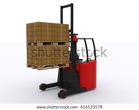 Red fork lift 3d rendering