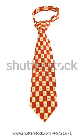 Red Formal Checkered Tie isolated on white