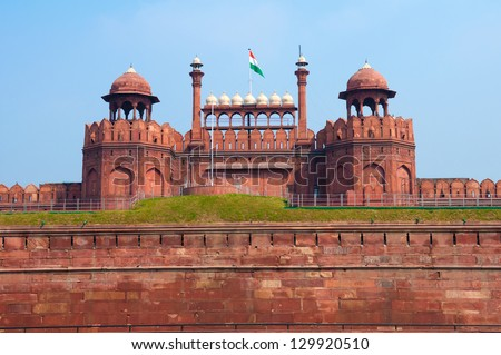 Red Fort of New Delhi, India built by the mughal empire - stock photo