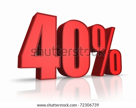 Red forty percent, isolated on white background. 40%
