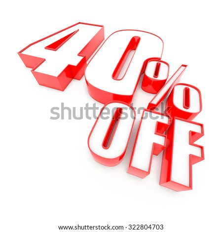Red forty 40 percent sign isolated on white background. 3D Render