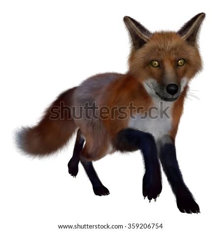 Red fox running- 3D render - stock photo