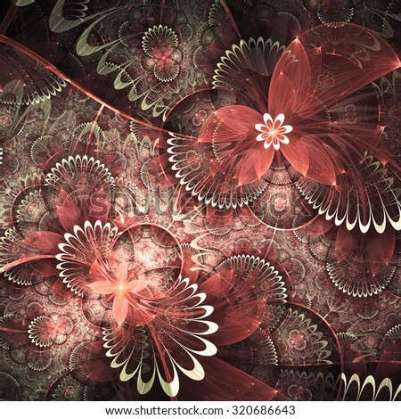Red fractal flowers, digital artwork for creative graphic design