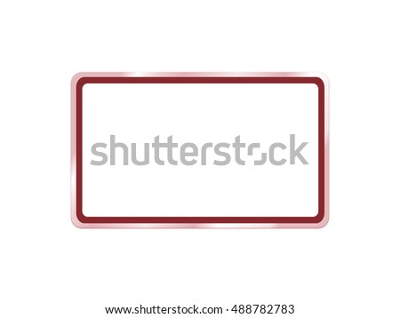 Red frame and empty sign broad on white background. Graphic art design.