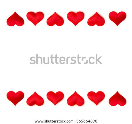Red frame of hearts on a white background with space for text