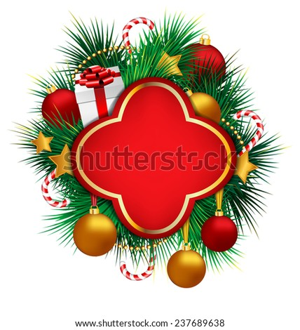 Red frame on pine branches with multicolored Christmas balls stars, candy canes and chains on grayscale background - stock photo